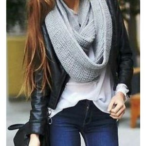 Large grey infinity scarf